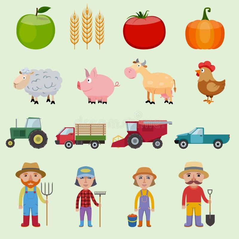 Geplaatste landbouwbedrijfpictogrammen stock illustratie