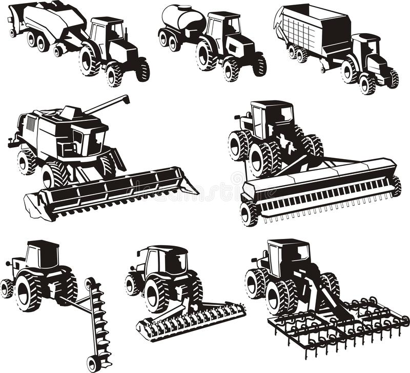 Geplaatste landbouwmachines royalty-vrije illustratie