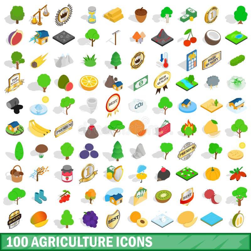 100 geplaatste landbouwpictogrammen, isometrische 3d stijl vector illustratie