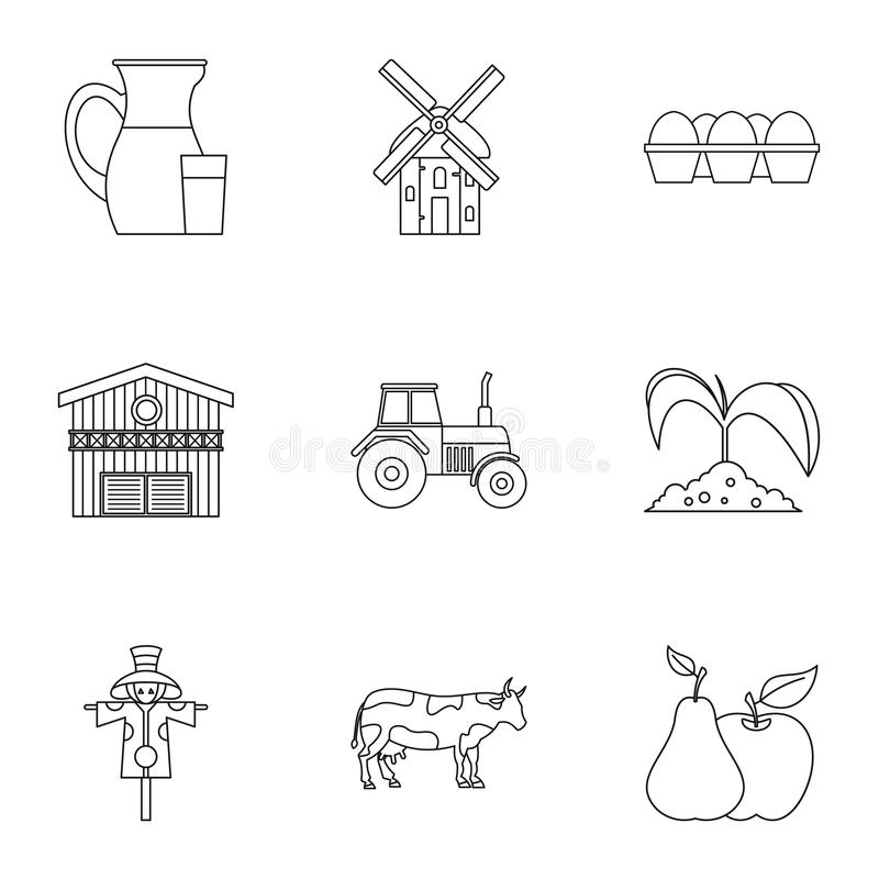 Geplaatste landgoed de pictogrammen, schetsen stijl royalty-vrije illustratie