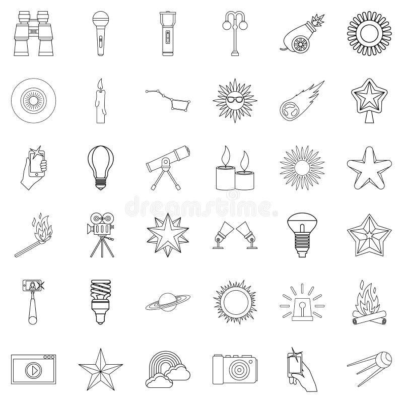 Download Geplaatste Lantaarn De Pictogrammen, Schetsen Stijl Vector Illustratie - Illustratie bestaande uit idee, energie: 107708607