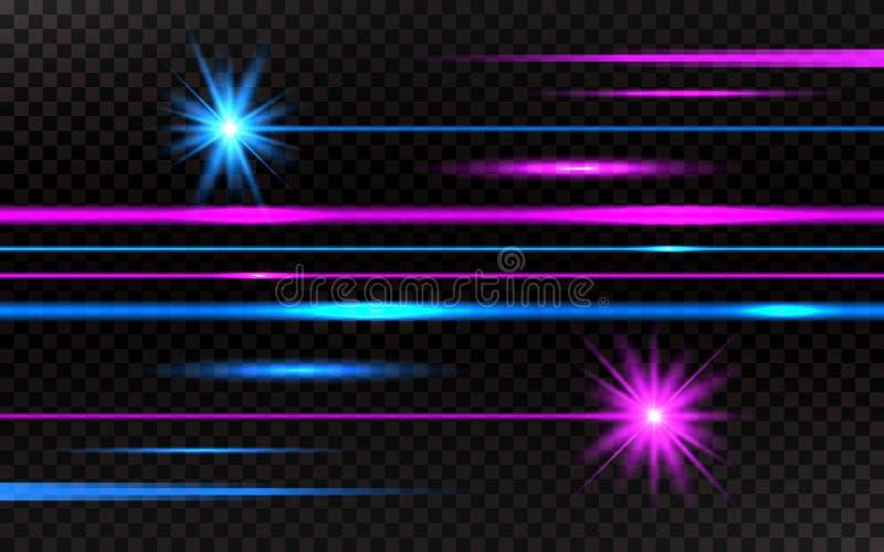 Geplaatste laserstralen Roze en blauwe horizontale lichte stralen Abstracte heldere lijnen op transparante achtergrond Pak strale royalty-vrije illustratie