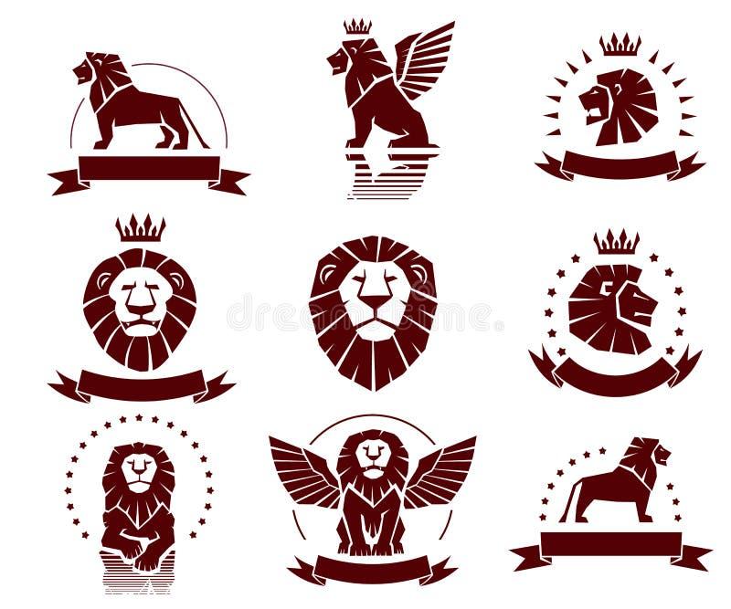 Geplaatste leeuwen Eenvoudige Emblemen stock illustratie