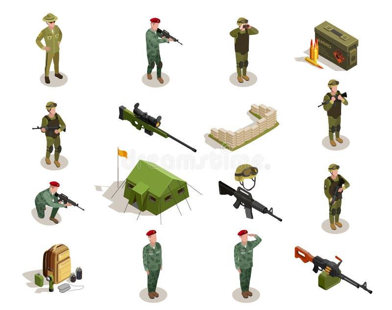 Geplaatste leger Militaire Isometrische Elementen stock illustratie