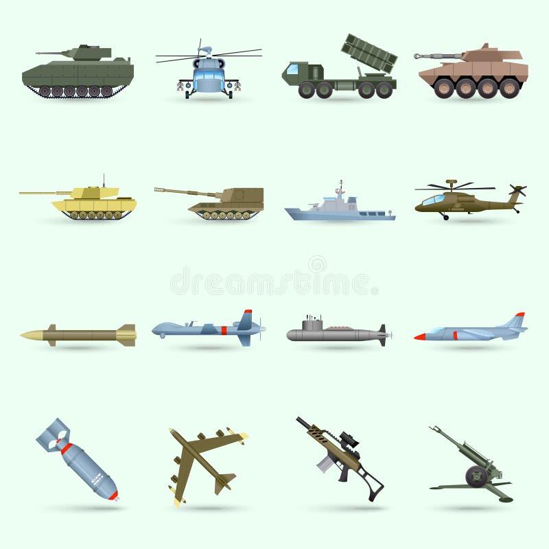 Geplaatste legerpictogrammen vector illustratie