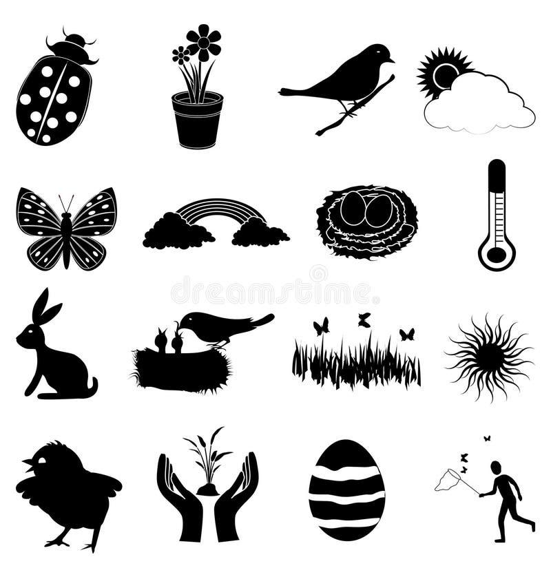 Geplaatste lentetijdpictogrammen stock illustratie