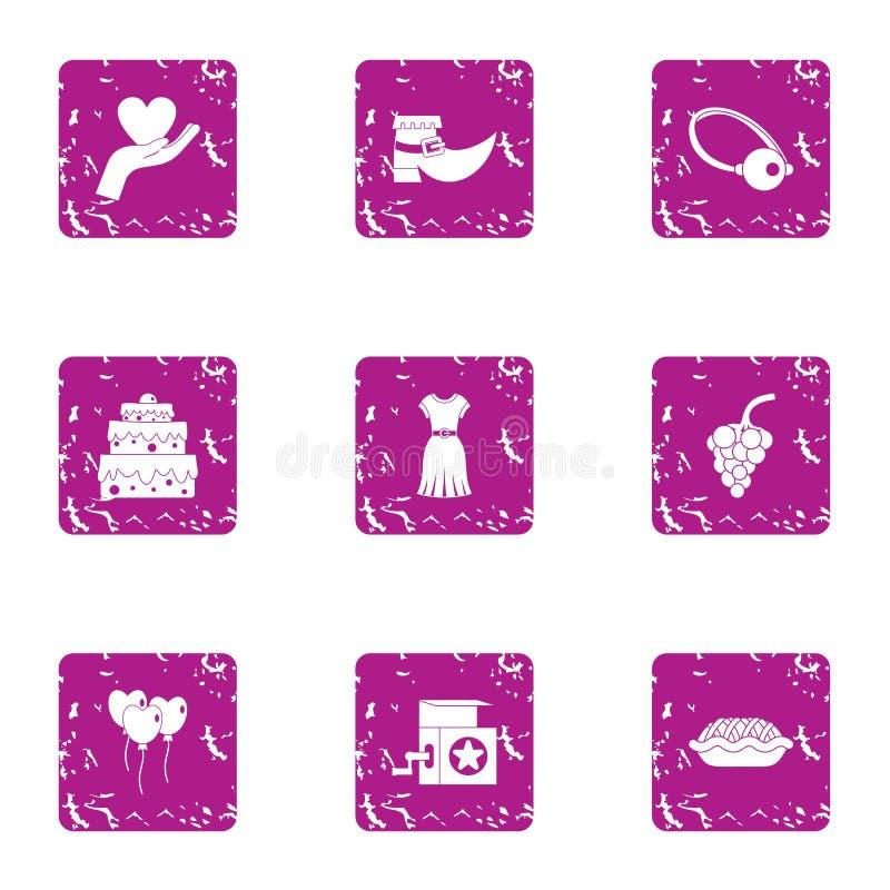 Geplaatste lief woordjepictogrammen, grunge stijl stock illustratie