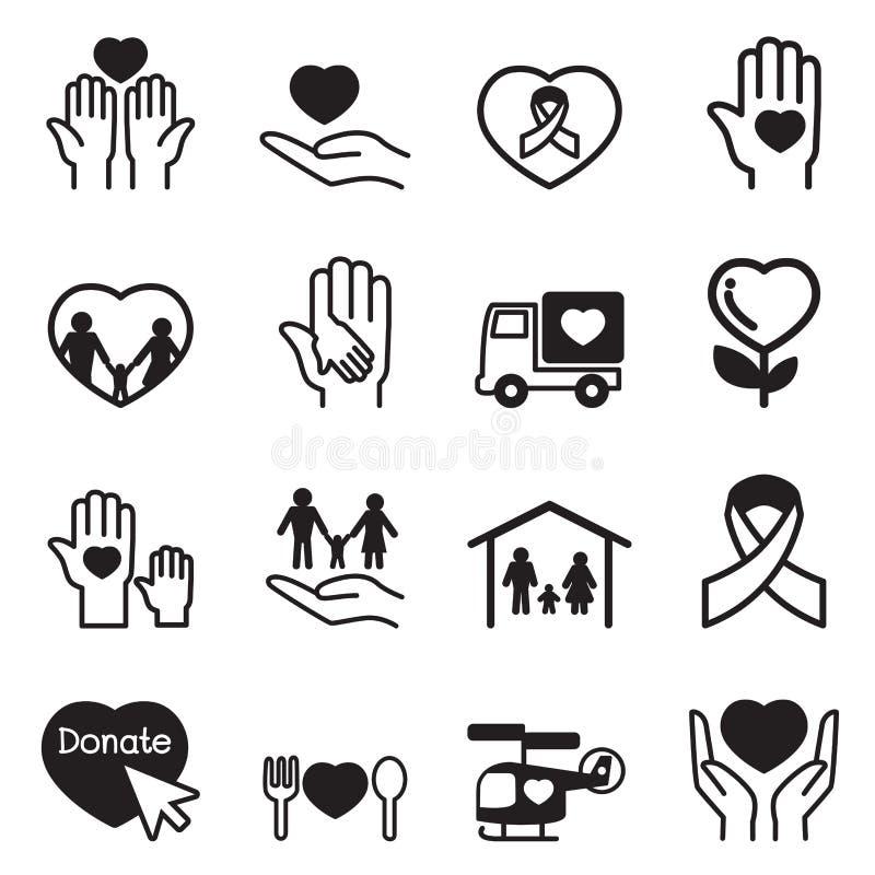 Geplaatste liefdadigheidspictogrammen royalty-vrije illustratie