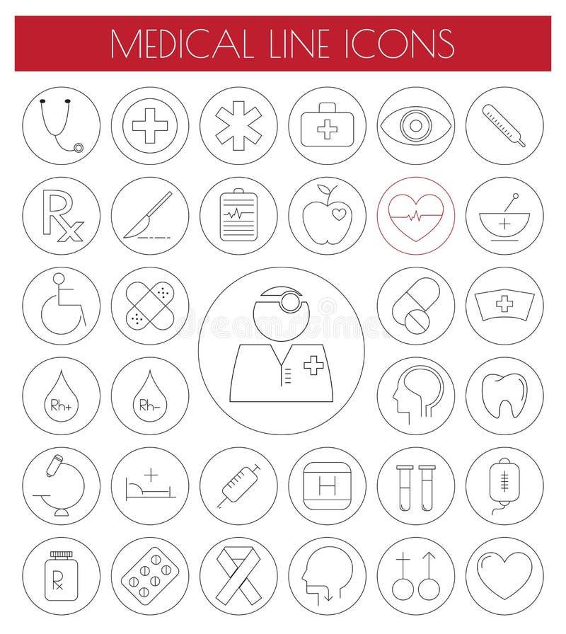 Geplaatste lijn Vlakke Medische Pictogrammen Vector/EPS10 vector illustratie