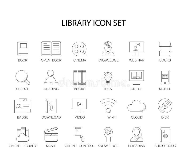 Geplaatste lijnpictogrammen Bibliotheek en online bibliotheekpak stock illustratie