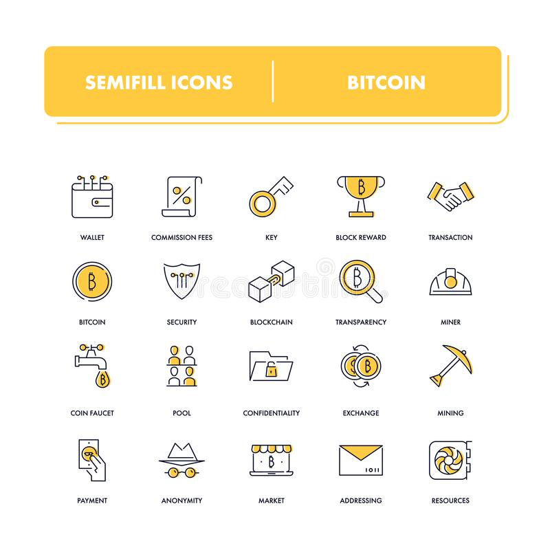 Geplaatste lijnpictogrammen Bitcoin royalty-vrije illustratie