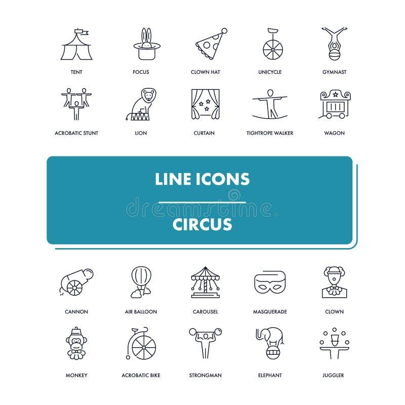Geplaatste lijnpictogrammen circus royalty-vrije illustratie