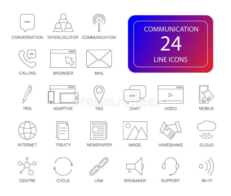 Geplaatste lijnpictogrammen Communicatie pak stock illustratie