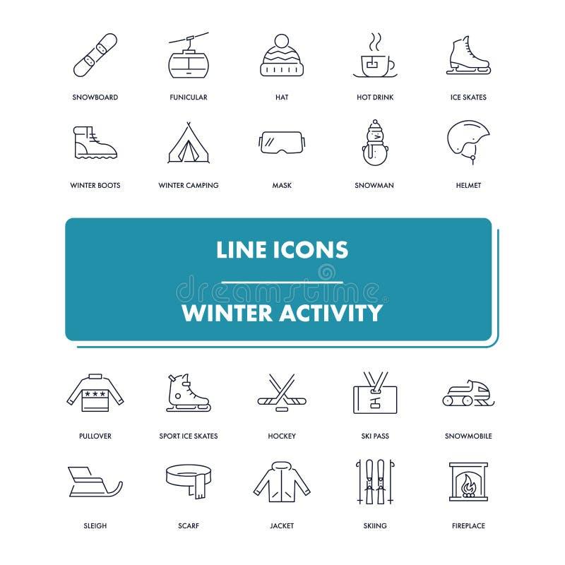 Geplaatste lijnpictogrammen De winteractiviteit vector illustratie