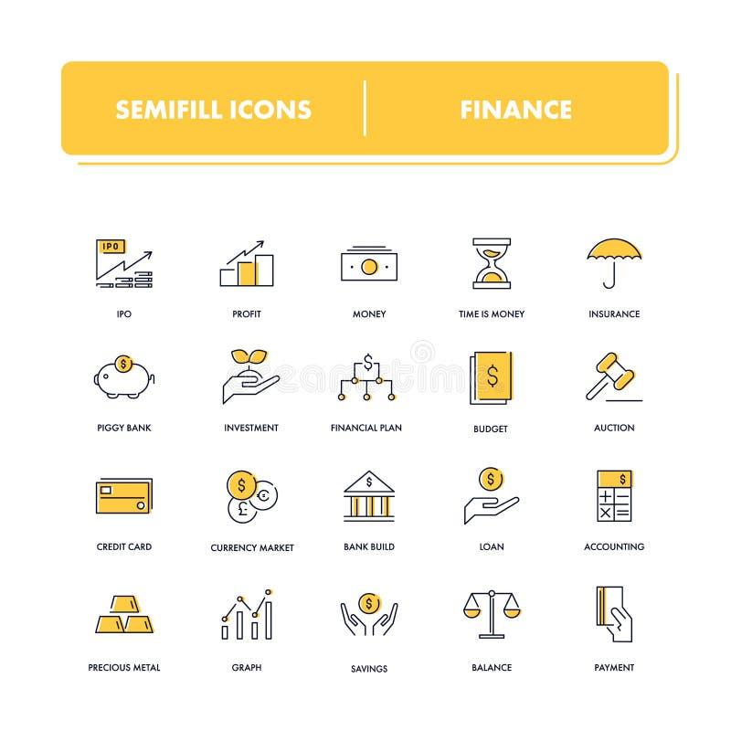 Geplaatste lijnpictogrammen financiën royalty-vrije illustratie