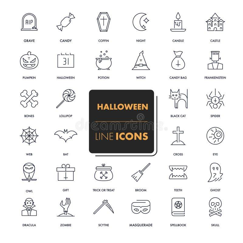 Geplaatste lijnpictogrammen Halloween stock illustratie