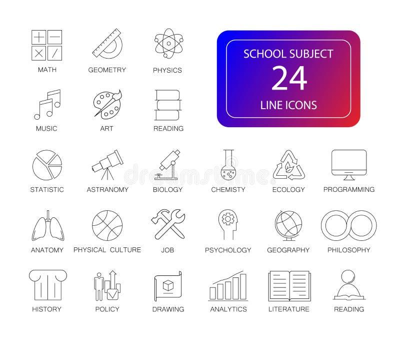 Geplaatste lijnpictogrammen Het pak van het schoolonderwerp stock illustratie