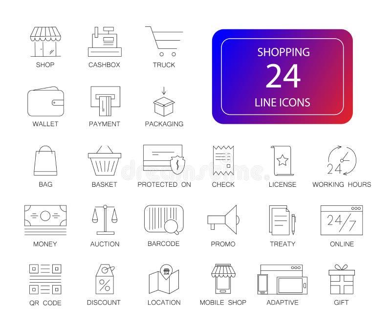 Geplaatste lijnpictogrammen Het winkelen pak vector illustratie
