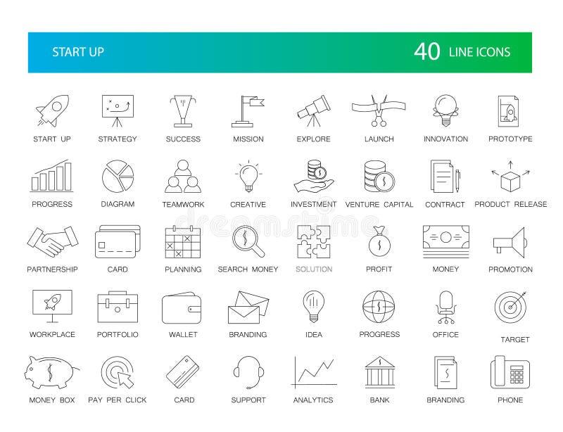 Geplaatste lijnpictogrammen Startpak vector illustratie