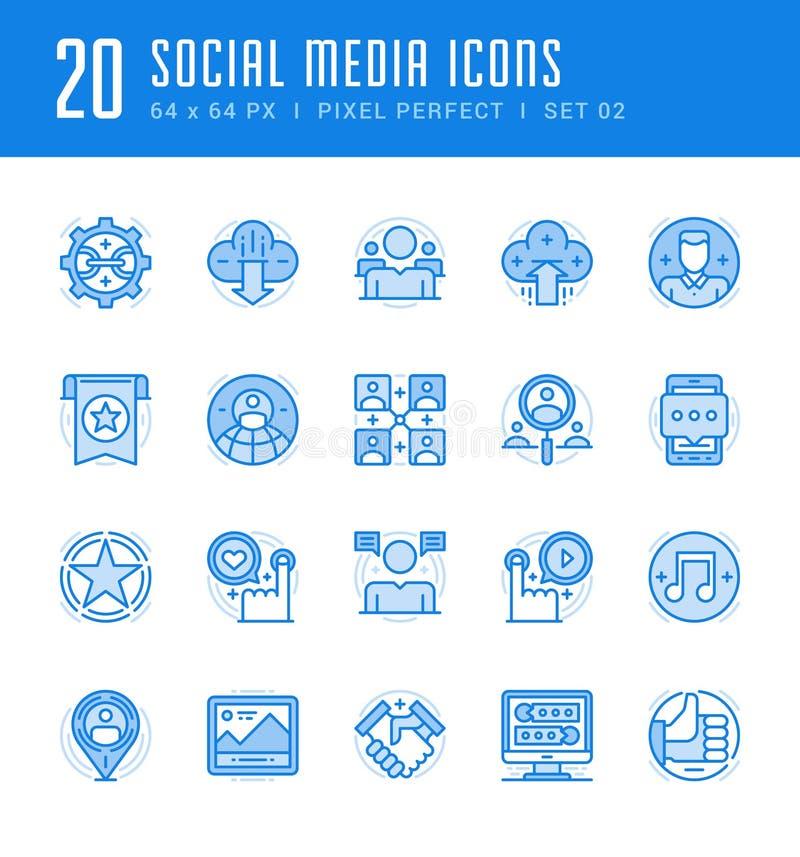 Geplaatste lijnpictogrammen Vlak dunne lineaire slag vector Sociale Media vector illustratie