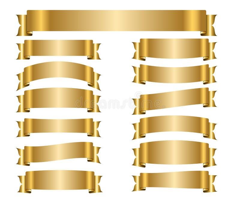 Geplaatste lint gouden banners vector illustratie
