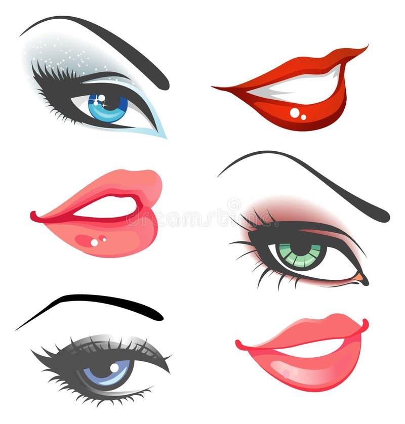 Geplaatste lippen & ogen stock illustratie