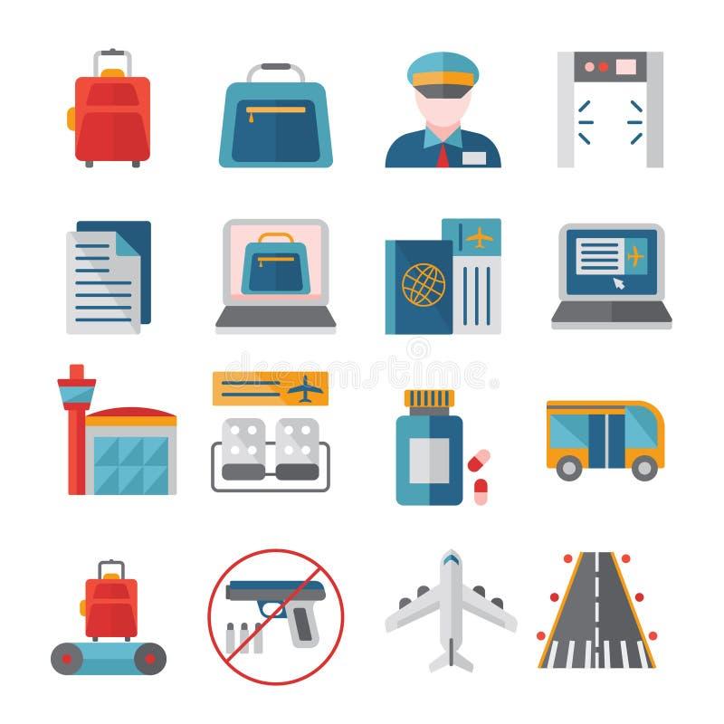 Geplaatste luchthaven vlakke pictogrammen royalty-vrije illustratie