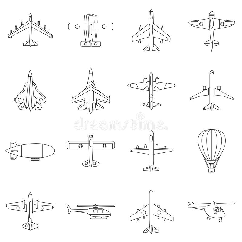 Geplaatste luchtvaart de pictogrammen, schetsen stijl vector illustratie