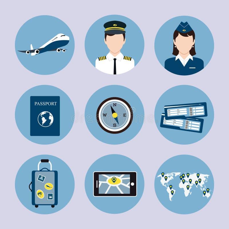 Geplaatste luchtvaartlijnpictogrammen vector illustratie