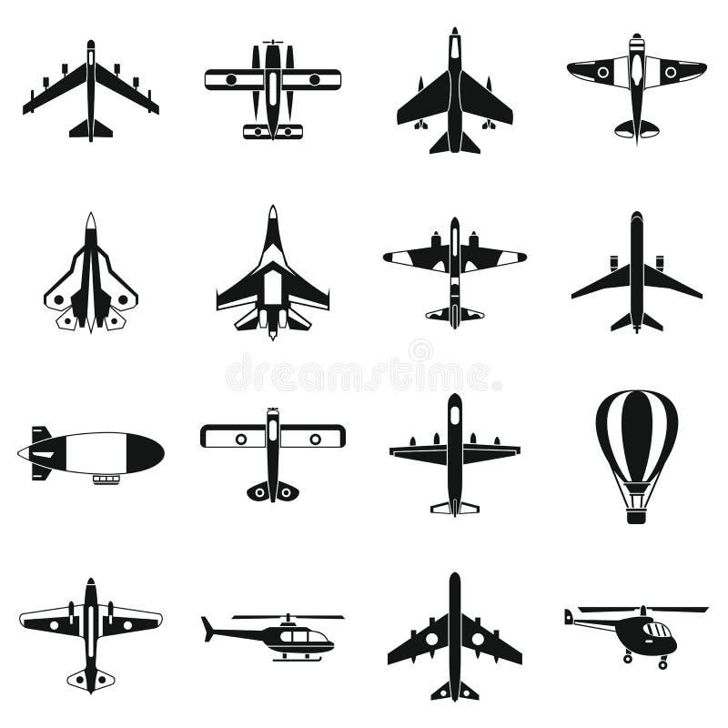 Geplaatste luchtvaartpictogrammen, eenvoudige stijl royalty-vrije illustratie