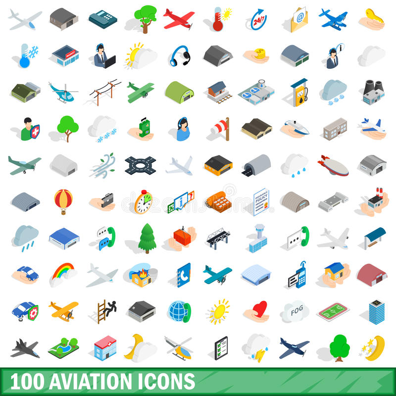 100 geplaatste luchtvaartpictogrammen, isometrische 3d stijl vector illustratie