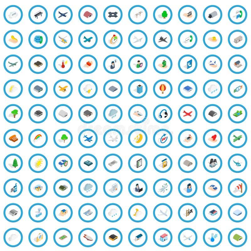 100 geplaatste luchtvaartpictogrammen, isometrische 3d stijl stock illustratie