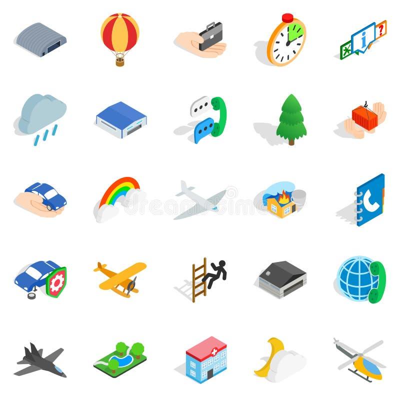 Geplaatste luchtvaartpictogrammen, isometrische stijl vector illustratie