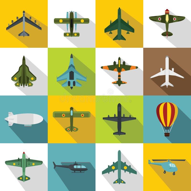 Geplaatste luchtvaartpictogrammen, vlakke stijl royalty-vrije illustratie