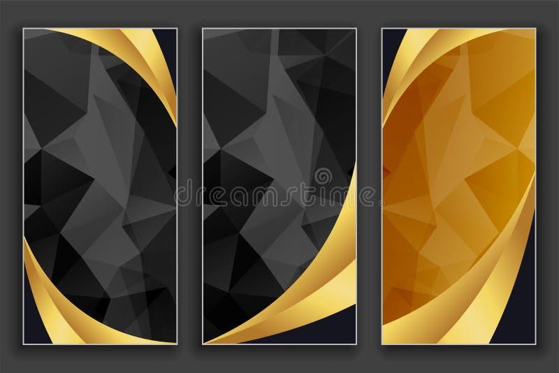 Geplaatste luxe geometrische gouden en zwarte banners royalty-vrije illustratie