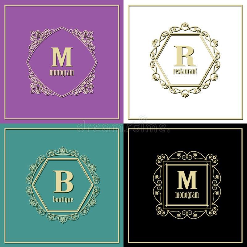 Geplaatste luxe gouden kaders Het malplaatje van het monogramembleem Vector royalty-vrije illustratie