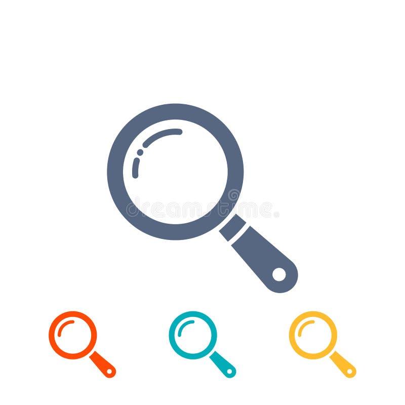 Geplaatste Magnifierpictogrammen vlak die vergrootglas, onderzoekspictogram, pictogrammen op wit worden geïsoleerd stock illustratie