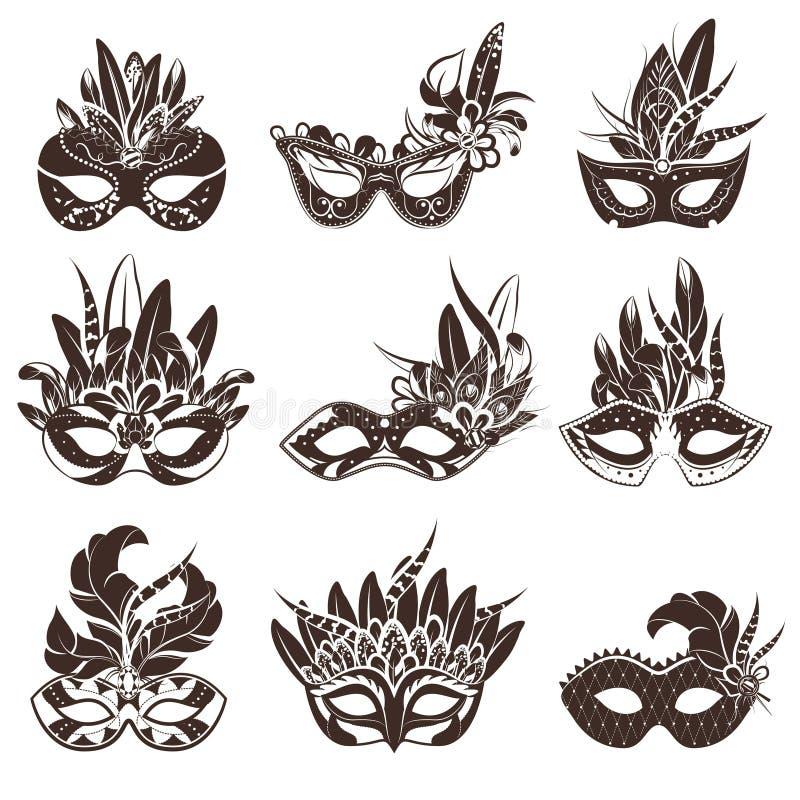 Geplaatste masker Zwarte Witte Pictogrammen stock illustratie