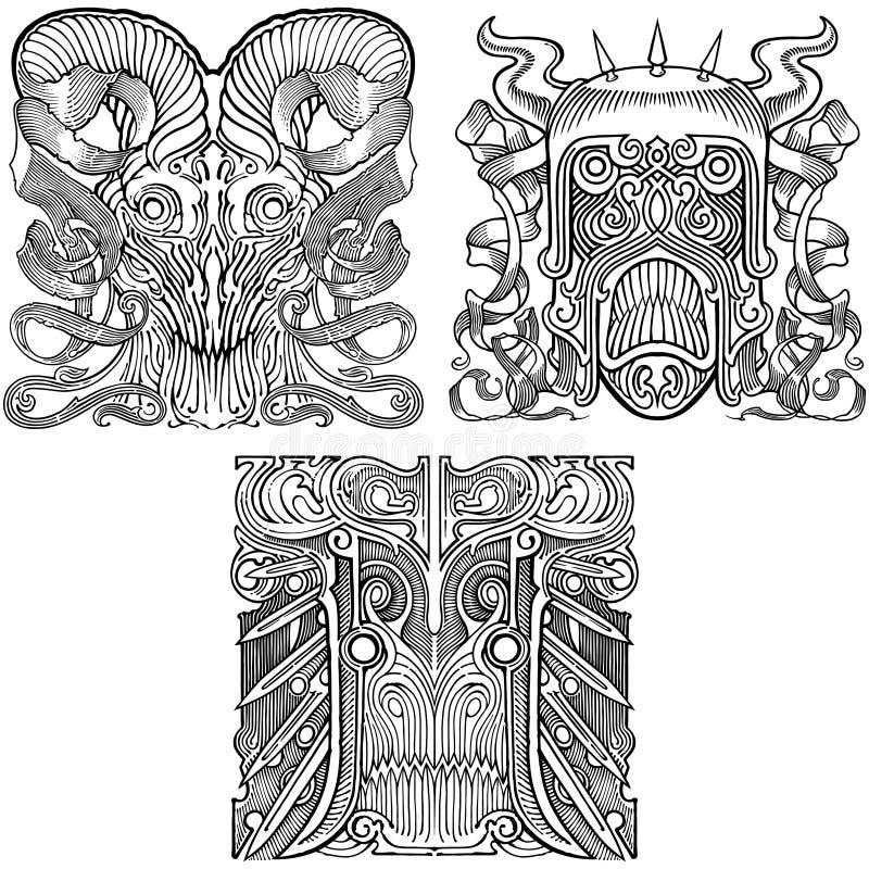 Geplaatste maskers stock afbeeldingen