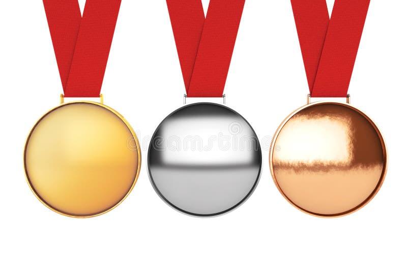 Geplaatste medailles De medaille van het goud, van het zilver en van het brons het 3d teruggeven vector illustratie