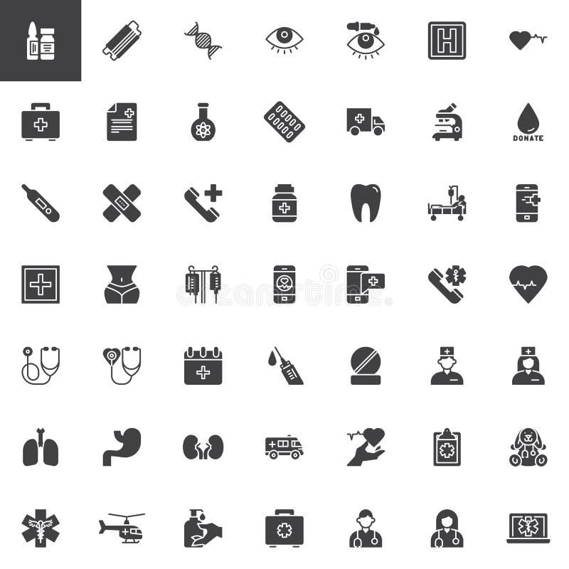Geplaatste medische apparatuur vectorpictogrammen vector illustratie