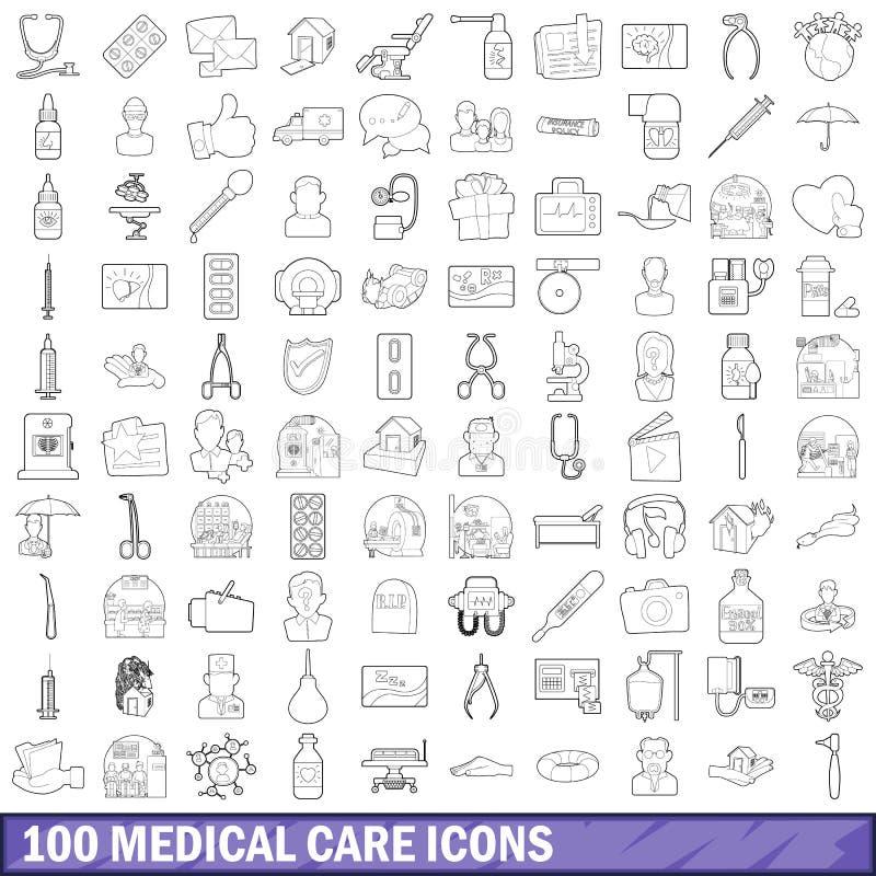 100 geplaatste medische behandelingpictogrammen, schetsen stijl stock illustratie