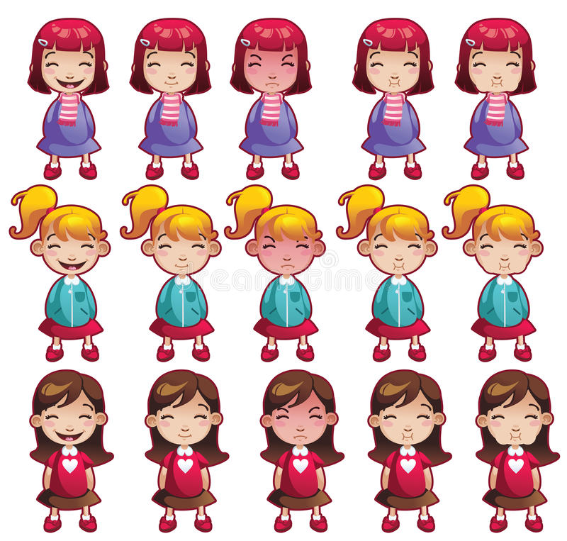 Geplaatste meisjesemoties vector illustratie
