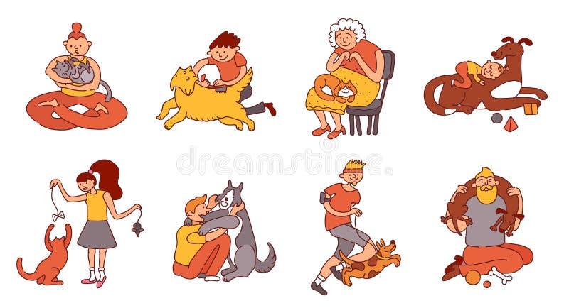 Geplaatste mensen en Huisdieren stock illustratie