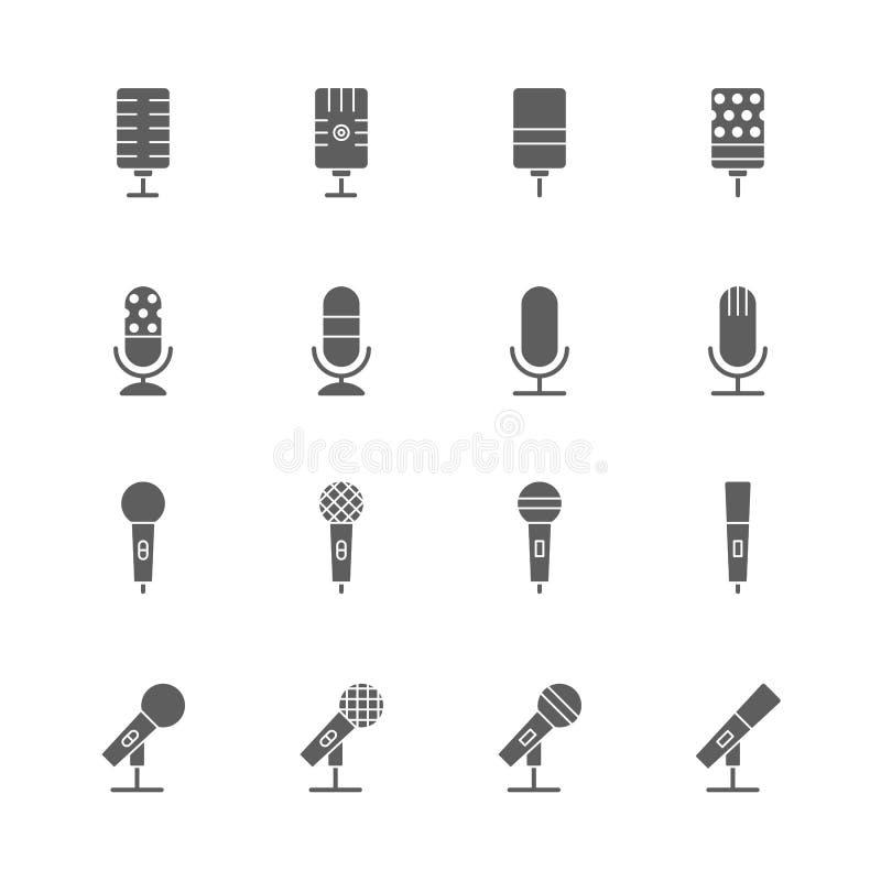 Geplaatste microfoonpictogrammen stock illustratie