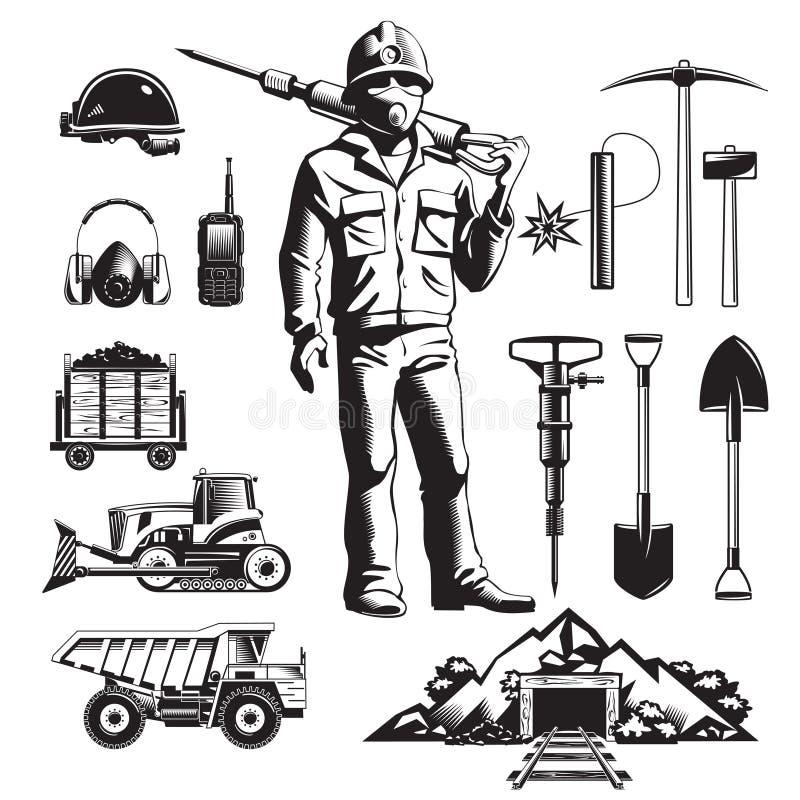 Geplaatste Mijnbouw Uitstekende Pictogrammen vector illustratie