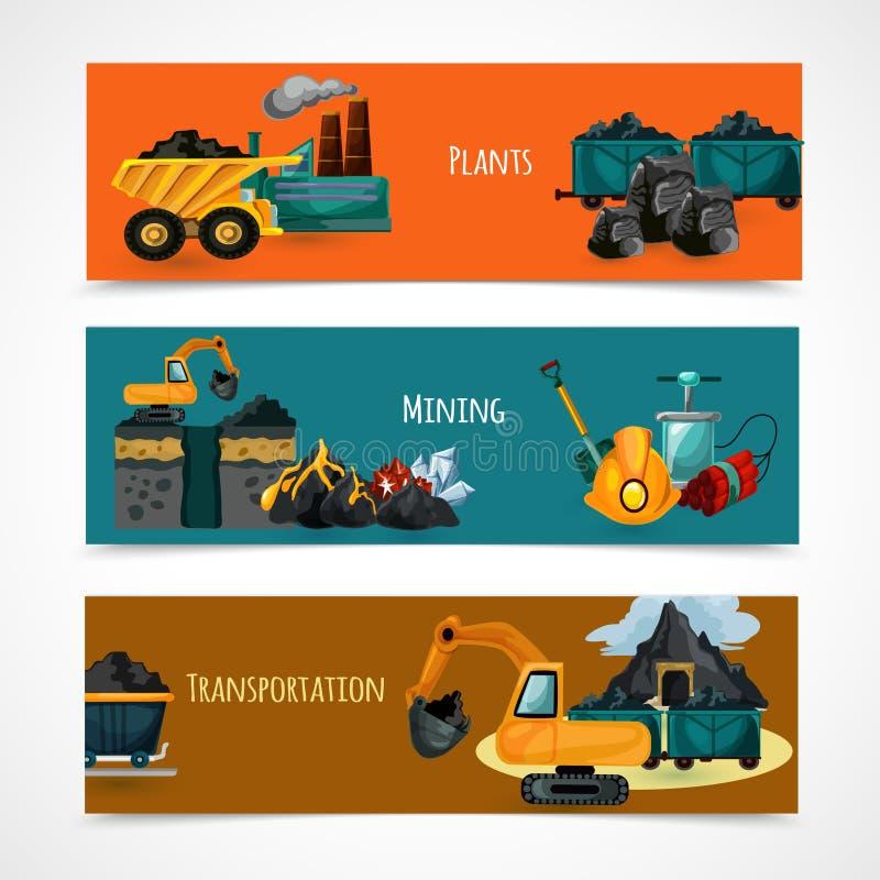Geplaatste mijnbouwbanners stock illustratie