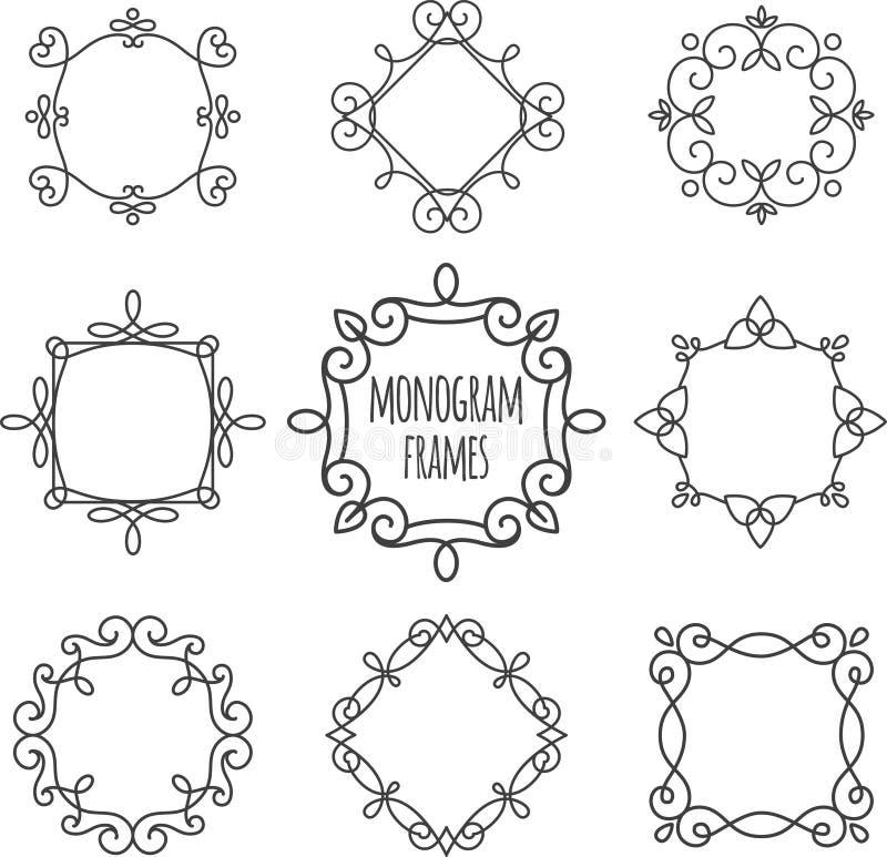 Geplaatste monogramkaders royalty-vrije illustratie
