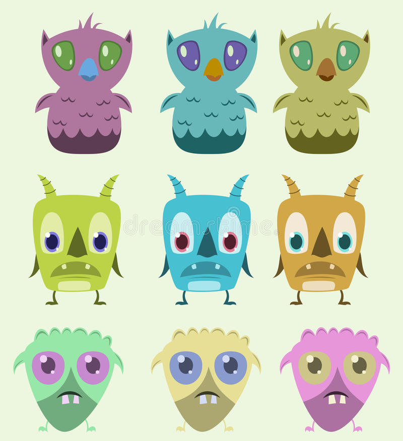 Geplaatste monsters stock foto