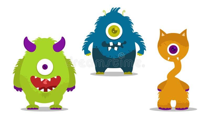 Geplaatste monsters vector illustratie